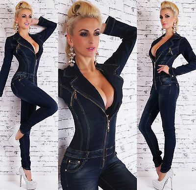 Women/'s Jumpsuit Denim Blue Skinny Jeans Washed Legs Zippers Size 6-14