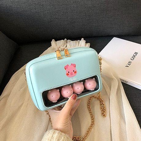 Kawaii Messenger Shoulder Bag Pastel Strawberry Bunny Crossbody Handbag Cute Purple Rabbit Purse Fairy Kei Accessories