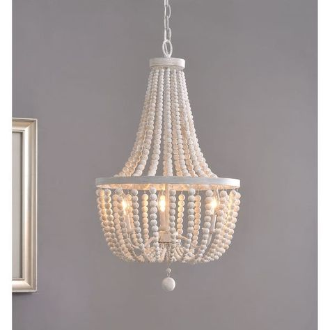 Alsy 3 Light Antique White with Gray Beaded Chandelier 21660