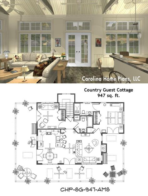 Small open floor plan SG-947-AMS. Great for guest cottage or vacation get-away.