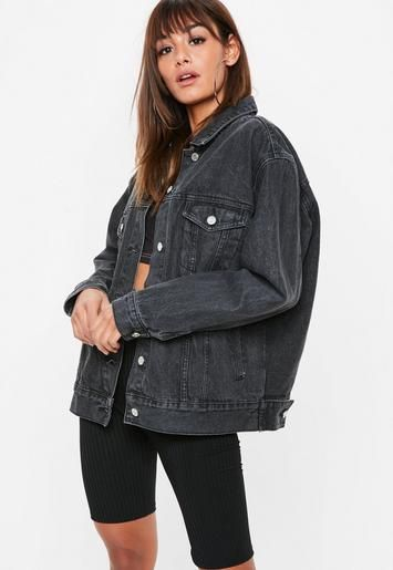 Missguided Black Co Ord Washed Oversized Denim Jacket