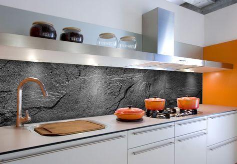 Küchenrückwand - Alu-Dibond - Schiefer Design 01 Walls and House - fototapete für küchenrückwand