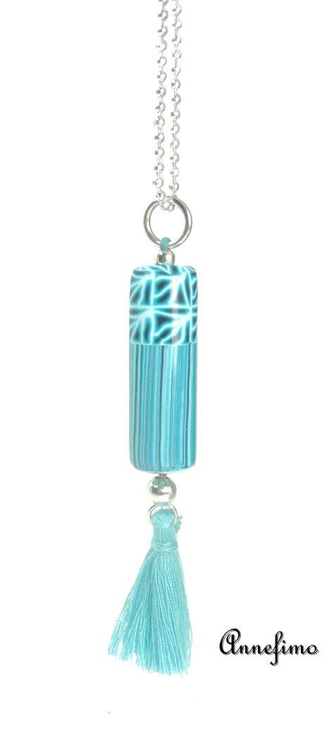 Magnifique sautoir tube bleu by AnneFimo