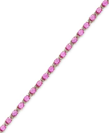 Effy Pink Sapphire 8 3 4 Ct T W And Diamond 1 4 Ct T W Tennis Bracelet In 14k Rose Gold Rose Gold Accessories Rose Gold Jewelry Bracelet Pink Sapphire