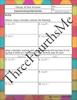 Logarithms Change Of Base Formula Notes With Examples Change Notes Formula