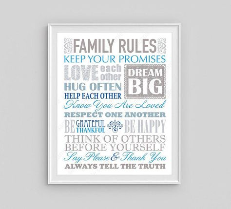 Family Rules poster Printable Blue and Gray home decor, Couple