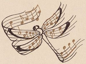 Beautiful Music Dragonfly Embroidered Flour Sack Hand/Dish Towel