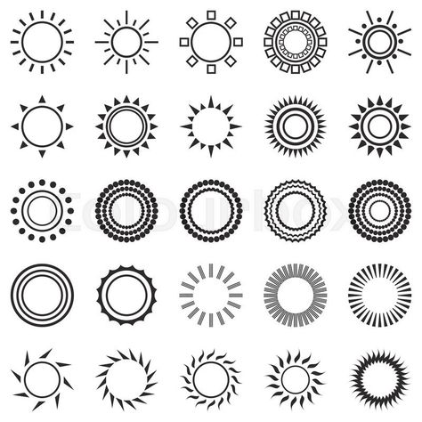 Stock vector of 'set of sun icons isolated on white background. Creative sunlight symbols in black and white. Elements for weather forecast design. Solar system. Sunrise and sunset. Editable items. Flat design graphic. Vector'