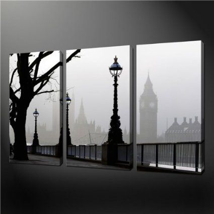 Amazon.com   3 Piece Wall Art Painting Pictures Print On Canvas Black And  White Big Ben Mist London The Picture For Home Modern Decoration O..