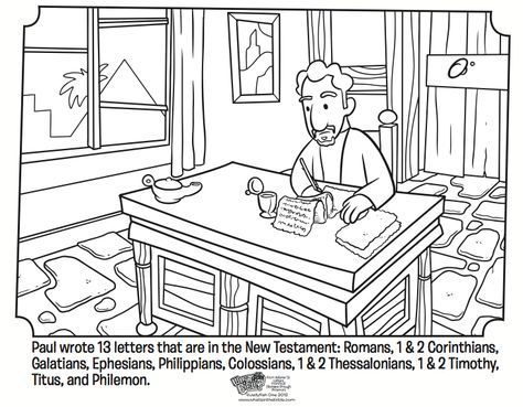 Paul S Letters Coloring Page Paul Bible Sunday School Coloring