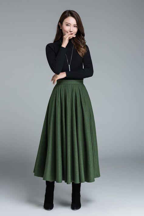 Vintage inspired Wool skirt, Circle skirt, Long Wool skirt, 1950s skirt, High waisted skirt, Swing full skirt with pocket, Autumn skirt 1641