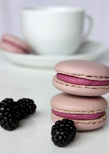 Blackberry Macarons 300g ground almonds 300g icing sugar 300g caster sugar 75g water 220g egg whites red gel food colouring blue gel food colouring