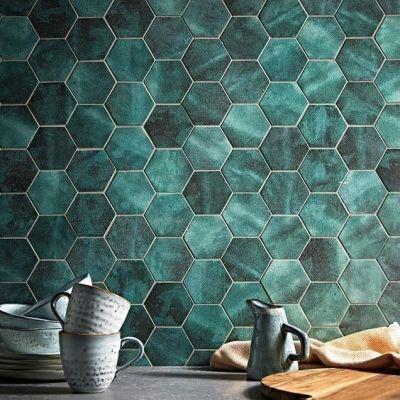 green hexagon tile hexagon tiles