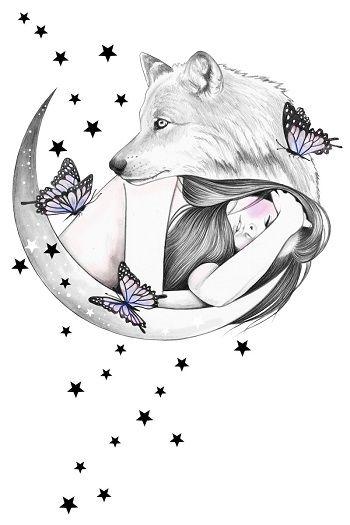 Aullido De Bosque Y Noche En Los Dibujos De Andrea Hrnjak Arte De Lobo Arte De Lobos Dibujos