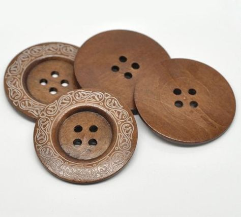 2 Extra large wood sewing buttons 6 cm 4-holes