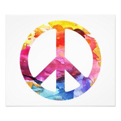 Peace Sign Hippie Girl 70s Watercolor Art Zazzle Com Peace