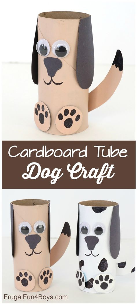 Paper Roll Dog Craft – Super fun craft for kids! Very simple supplies that you probably have on hand. Paper Roll Dog Craft – Super fun craft for kids! Very simple supplies that you probably have on hand. Hand Crafts For Kids, Toddler Crafts, Art For Kids, Crafts For Dogs, Craft Kids, Crafts With Babies, Childrens Crafts Preschool, Simple Crafts For Kids, Crafts For Toddlers