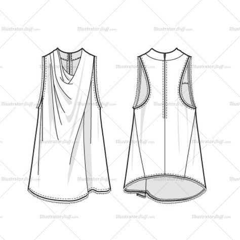 Women's Draped Trapeze Top Fashion Flat Template – Templates for Fashion