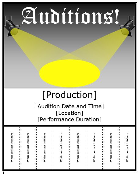 Auditions Flyer Template Templates Pinterest Flyer template - contact info template