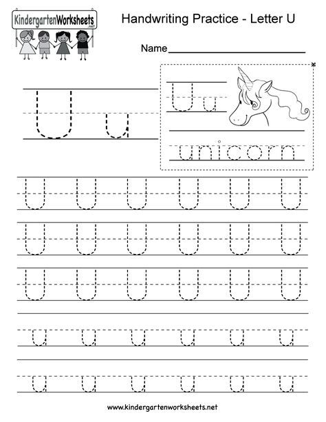 Letter U Handwriting Worksheet For Kindergarteners. This Series Of Handwriting  Alphabet Wor… Writing Practice Worksheets, Writing Practice, Handwriting  Worksheets