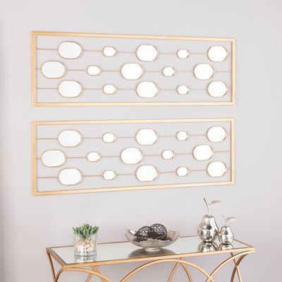 Cynthia Gold Mirrored 2 Piece Panels Set Modern Mirror Wall Lighted Wall Mirror Antique Mirror Wall