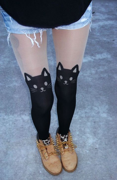 Kitty Garter Tights by FlowerSourDiesel on Etsy.