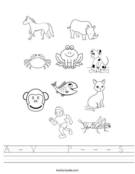 A V P S Worksheet Twisty Noodle In 2020 Animal Coloring Pages Coloring Pages Mammals
