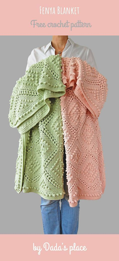 Best 11 This vintage style, beautiful crochet blanket is an ideal handmade addition to every modern home. If you love hygge this handmade blanket is for you. Easy to make, especially with free crochet pattern designed by Dada's place. Motifs Afghans, Crochet Afghans, Baby Blanket Crochet, Crochet Blankets, Free Crochet Blanket Patterns Easy, Crochet Ideas, Modern Crochet Blanket, Baby Blanket Knitting Pattern Free, Bobble Stitch Crochet Blanket