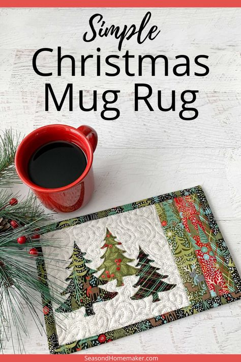 This simple quilted Christmas Mug Rug tutorial is a fun way to celebrate the holidays. Easy Christmas + Pine Tree appliques add to the festivities! Christmas Mug Rugs, Christmas Patchwork, Christmas Placemats, Christmas Tree Design, Simple Christmas, Christmas Crafts, Christmas Tables, Nordic Christmas, Modern Christmas