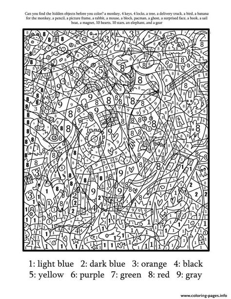 Really Hard Difficult Color By Number For Adults Coloring Pages Printable