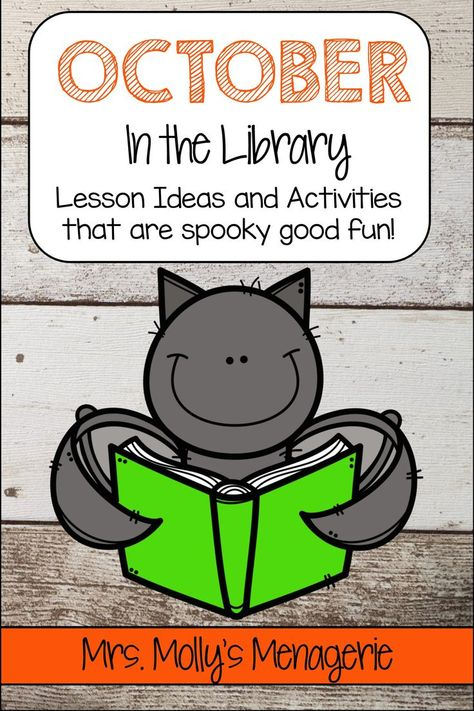 Book suggestions and activities for the month of October. Library lessons that are quick and easy! Kindergarten Library Lessons, School Library Lessons, Library Lesson Plans, Elementary School Library, Library Skills, Kindergarten Lesson Plans, Elementary Schools, Library Games, Library Activities