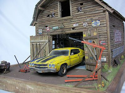 118 Chevelle Harley Davidson Barn Find Project Weathered Diorama W Lights