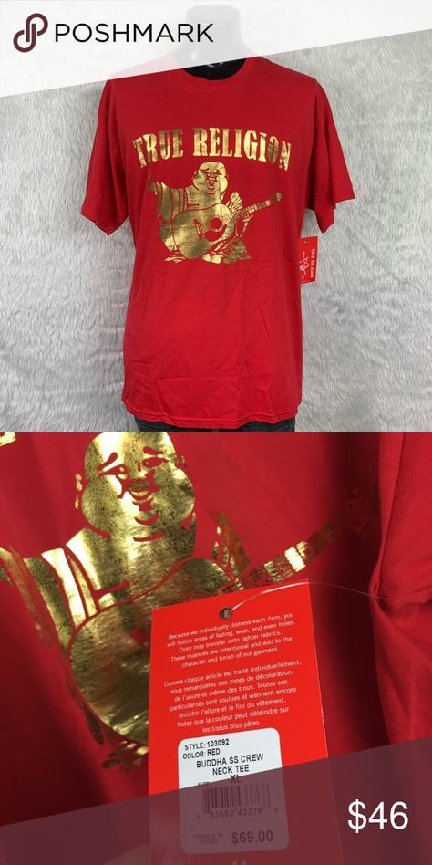 🆕 True Religion Red/Gold Buddha Tee (NWT) Brand new with tags! True Religion 100% soft luxurious cotton Distressed Red Gold Buddha Tee in size Extra Large. This beautiful shirt should be yours! Let's make it happen! True Religion Shirts Tees - Short Sleeve