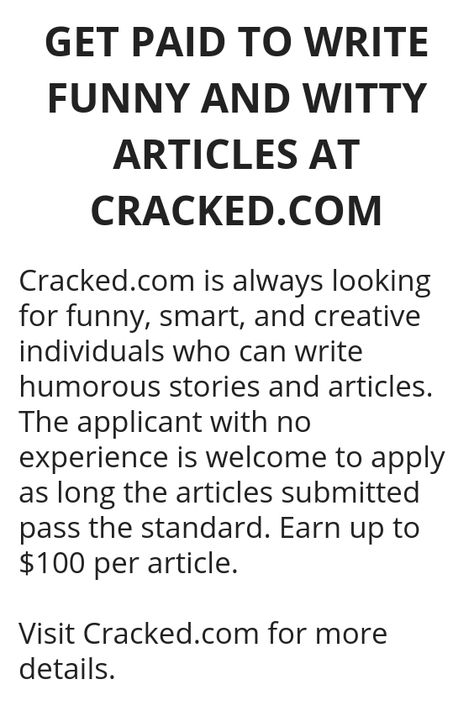 GET PAID TO WRITE FUNNY AND WITTY ARTICLES AT CRACKED.COM