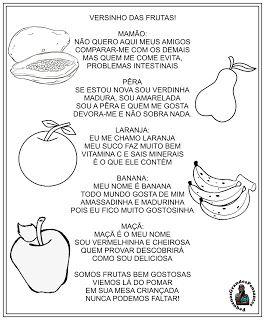 Versinho Das Frutas Semana Da Boa Alimentacao Com Imagens