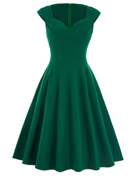 1950s Retro V Neck Black Red Green Summer Dress Robe Femme Casual Tunic Rockabilly Swing Party Dress green dress 3