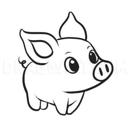 How To Draw A Simple Pig Step By Step Drawing Guide By Dawn Dragoart Com In 2020 Easy Cartoon Drawings Easy Animal Drawings Animal Drawings