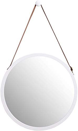 Enjoy Exclusive For Wilshine Small Round Wall Mirror White Modern Frame Bathroom Entryway Living Room Lightweight Faux Leather Strap 15 Online In 2020 Round Wall Mirror Mirror Wall Modern Frames