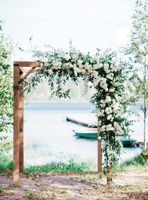 19 Ways To Have A Fabulous Wedding On A budget { Rustic Wedding Ideas } - Wedding Arch Wedding Arbors, Wedding Arch Rustic, Wedding Ceremony Arch, Outdoor Ceremony, Winter Wedding Arch, Wedding Arch Greenery, Rustic Wedding Ceremonies, Arch For Wedding, Wedding Table