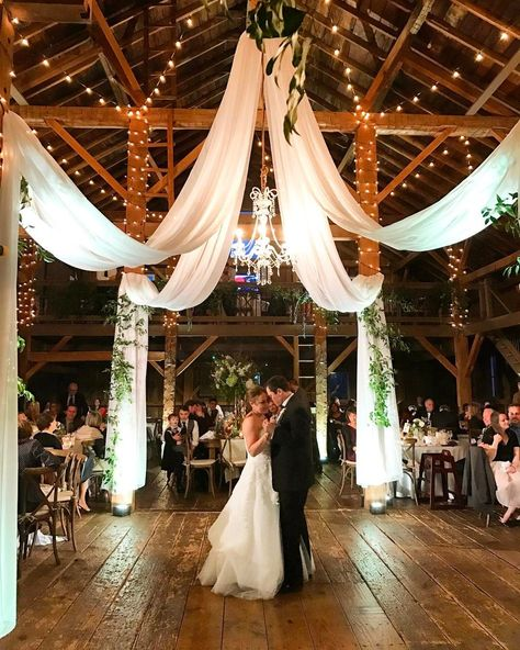 barn wedding reception ideas with draping fabric and lighting Modern Rustic Barn Wedding Inspiration