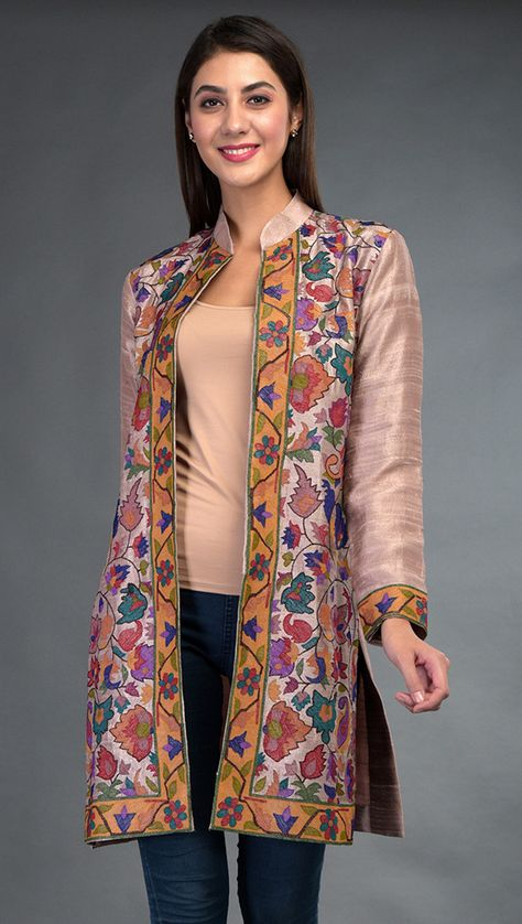 Kashmir Heritage Kani Art Patterns come alive in embroidery on this pure raw silk Rosy Brown jacket. Kani Art embroidered multi-colour floral and paisley pattern is laid out all over front, back yoke and sleeve ends. The vibrant embroidery is in
