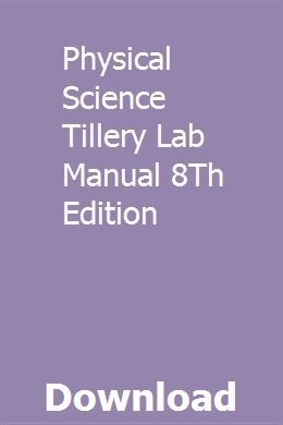 Physical Science Tillery Lab Manual 8th Edition Physical Science