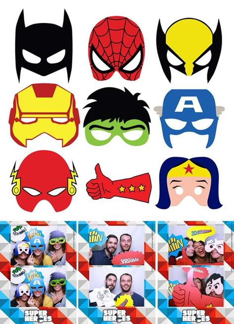 graphic relating to Free Printable Superhero Photo Booth Props identified as Pinterest