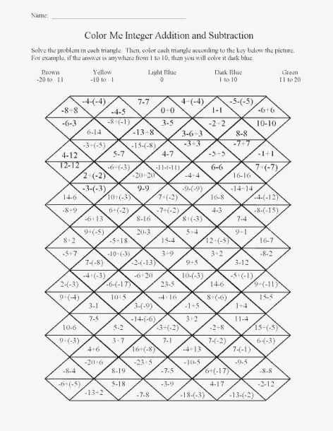 Christmas Math Worksheets For Middle School Math Integers High