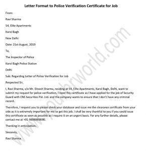 Letter Format To Get Police Verification Certificate For Job In India Job Application Letter Format Lettering Application Letters