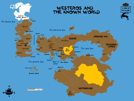 Map Of The World Ice And Fire A Song Westeros Game Of Thrones