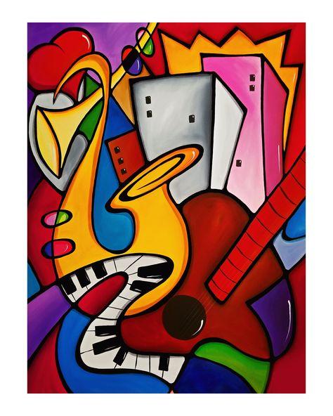 Abstract Modern Seabreeze Jazz Festival Pop Art Original Canvas Print By Fidostudio Original Abstract Art Painting Pop Art Pop Art Collage