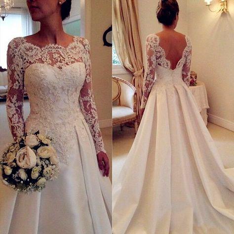 Newest Long Sleeve Ivory Wedding Dresses A Line Lace Wedding