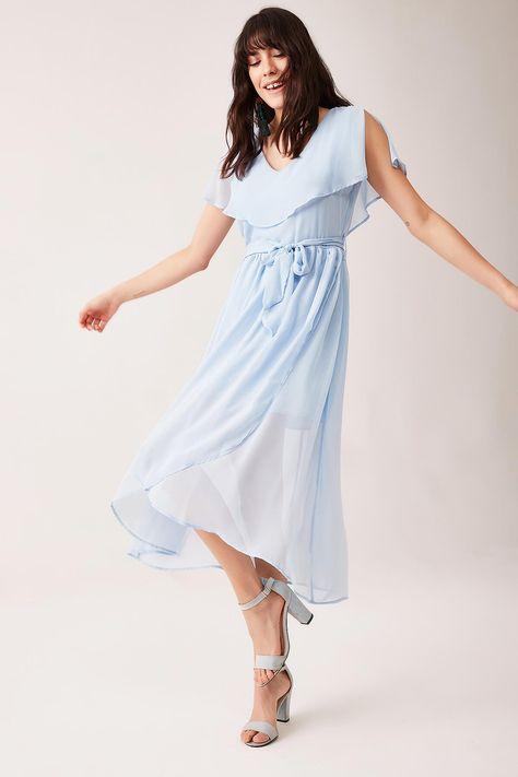3aa2ed2e2c382 Bebe Mavi Volanlı Şifon Kadın Elbiseler ve Daha Bir çok Birbirinden Şık  Parti Elbiseleri Lafaba.com'da. Hemen Satın Al.