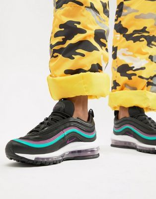 Nike Black With Purple Piping Air Max 97 Trainers | Black